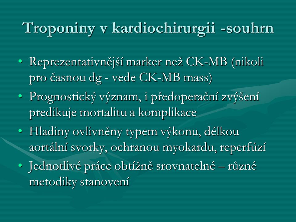 Troponiny v kardiochirurgii -souhrn