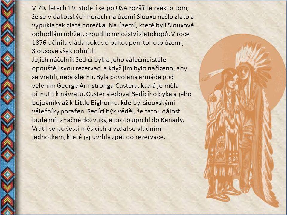 V 70. letech 19. století se po USA rozšířila zvěst o tom, že se v dakotských horách na území Siouxů našlo zlato a vypukla tak zlatá horečka. Na území, které byli Siouxové odhodláni udržet, proudilo množství zlatokopů. V roce 1876 učinila vláda pokus o odkoupení tohoto území, Siouxové však odmítli.