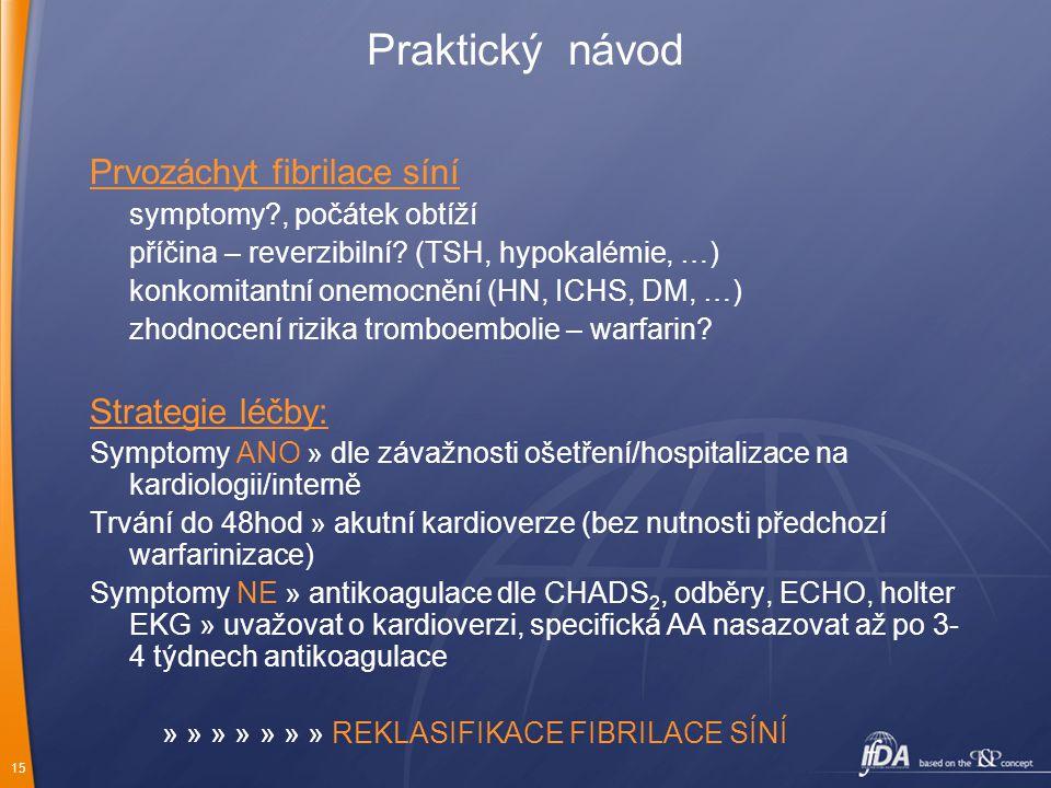 Praktický návod Prvozáchyt fibrilace síní Strategie léčby: