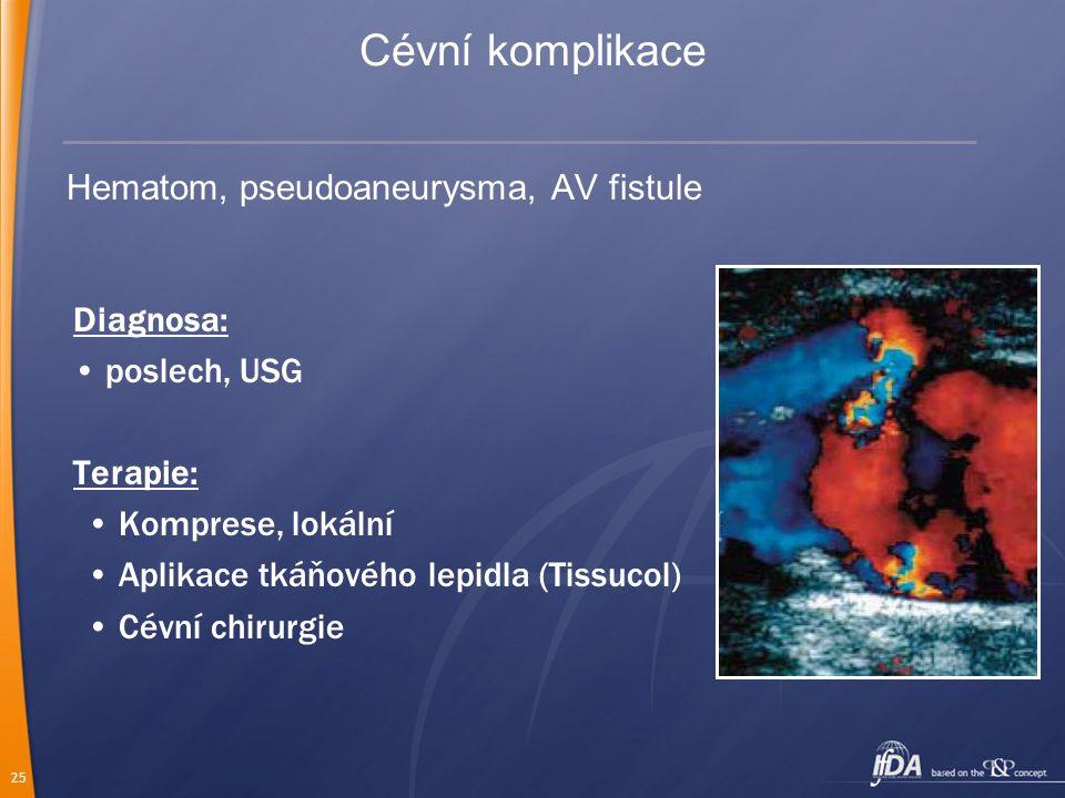 Cévní komplikace Hematom, pseudoaneurysma, AV fistule Diagnosa: