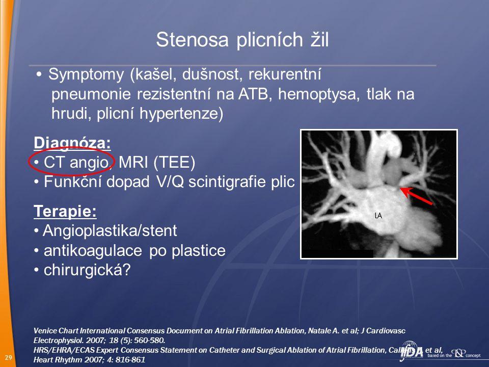 Stenosa plicních žil • Symptomy (kašel, dušnost, rekurentní pneumonie rezistentní na ATB, hemoptysa, tlak na hrudi, plicní hypertenze)