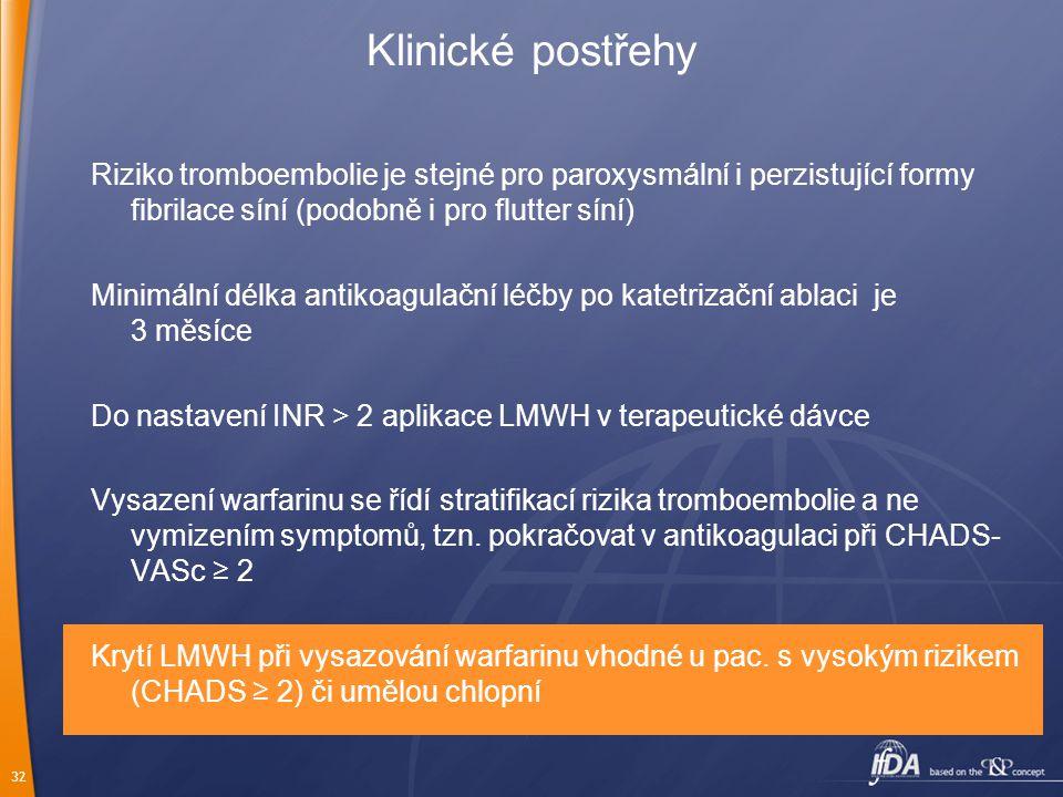 Klinické postřehy Riziko tromboembolie je stejné pro paroxysmální i perzistující formy fibrilace síní (podobně i pro flutter síní)
