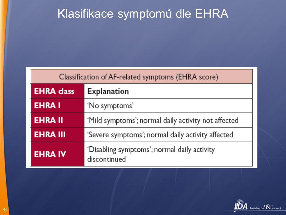 Klasifikace symptomů dle EHRA