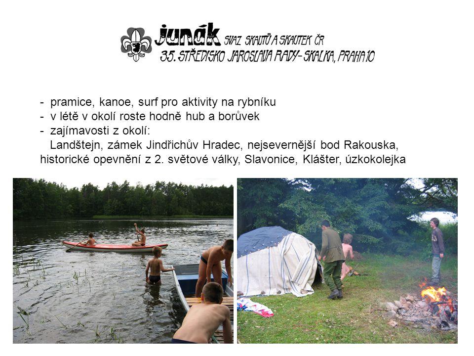 pramice, kanoe, surf pro aktivity na rybníku