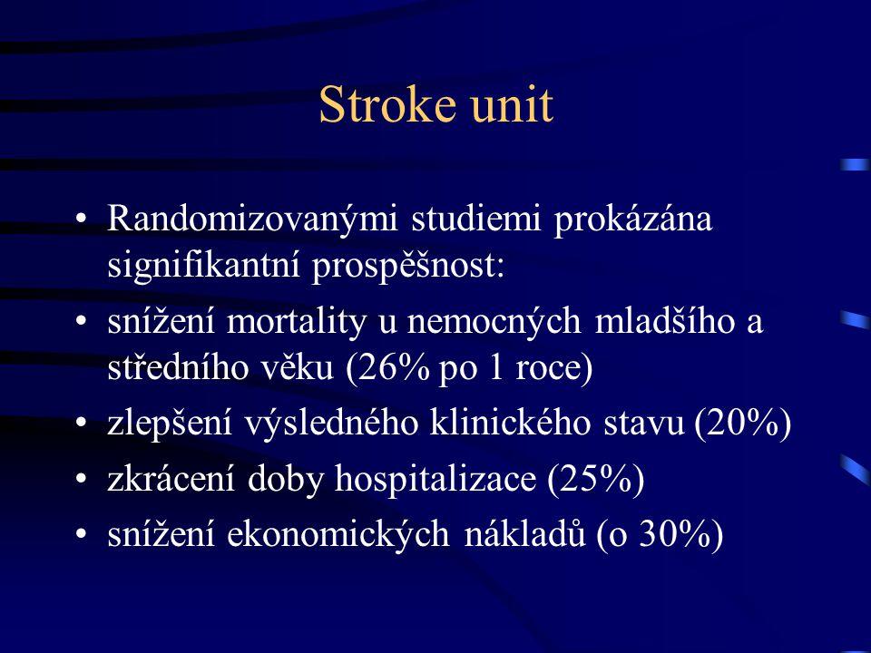 Stroke unit Randomizovanými studiemi prokázána signifikantní prospěšnost: snížení mortality u nemocných mladšího a středního věku (26% po 1 roce)
