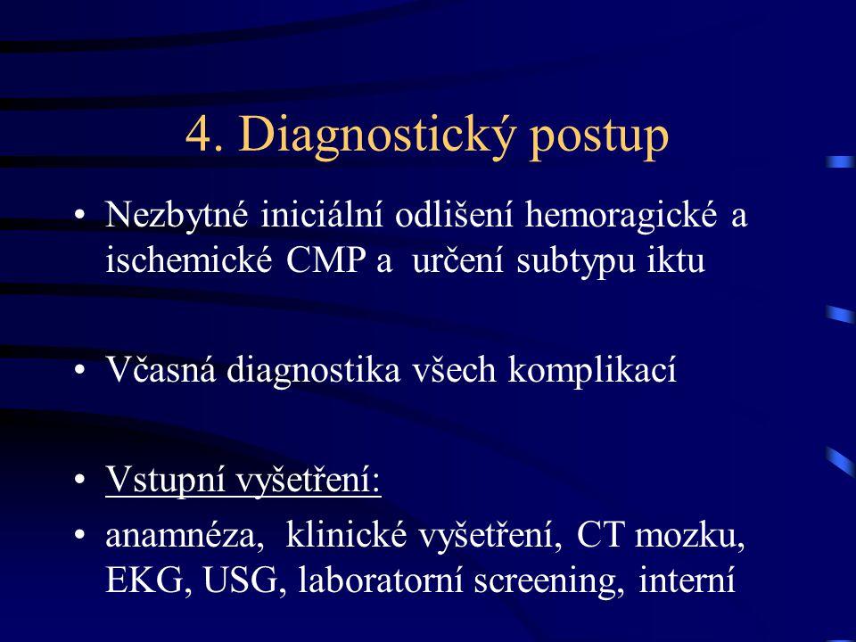 4. Diagnostický postup Nezbytné iniciální odlišení hemoragické a ischemické CMP a určení subtypu iktu.