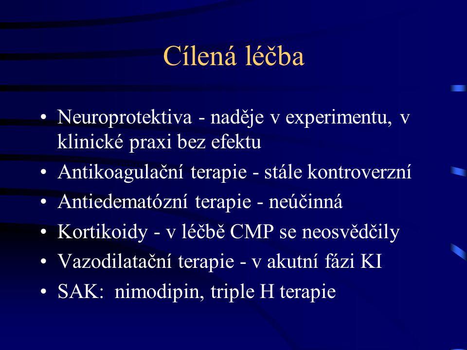Cílená léčba Neuroprotektiva - naděje v experimentu, v klinické praxi bez efektu. Antikoagulační terapie - stále kontroverzní.