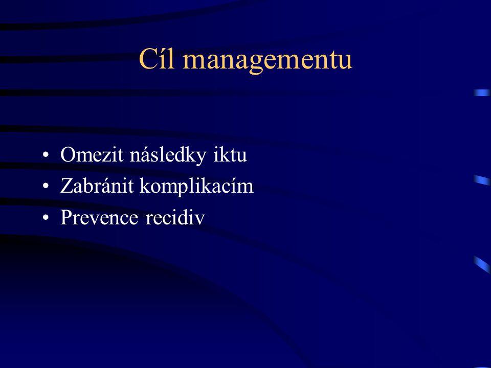 Cíl managementu Omezit následky iktu Zabránit komplikacím