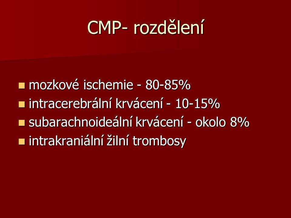 CMP- rozdělení mozkové ischemie - 80-85%