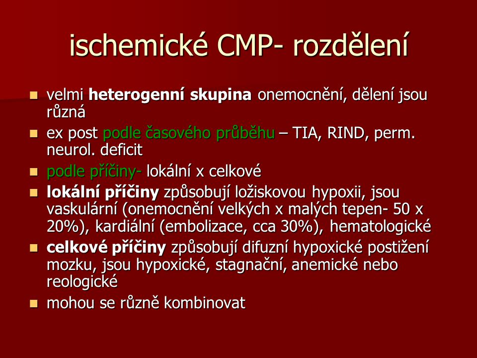 ischemické CMP- rozdělení