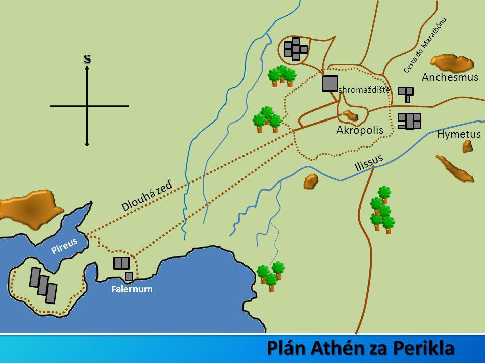 Plán Athén za Perikla S Anchesmus Akropolis Hymetus Ilissus Dlouhá zeď