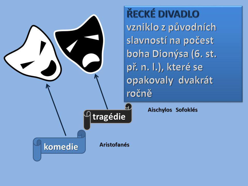 ŘECKÉ DIVADLO vzniklo z původních slavností na počest boha Dionýsa (6. st. př. n. l.), které se opakovaly dvakrát ročně.