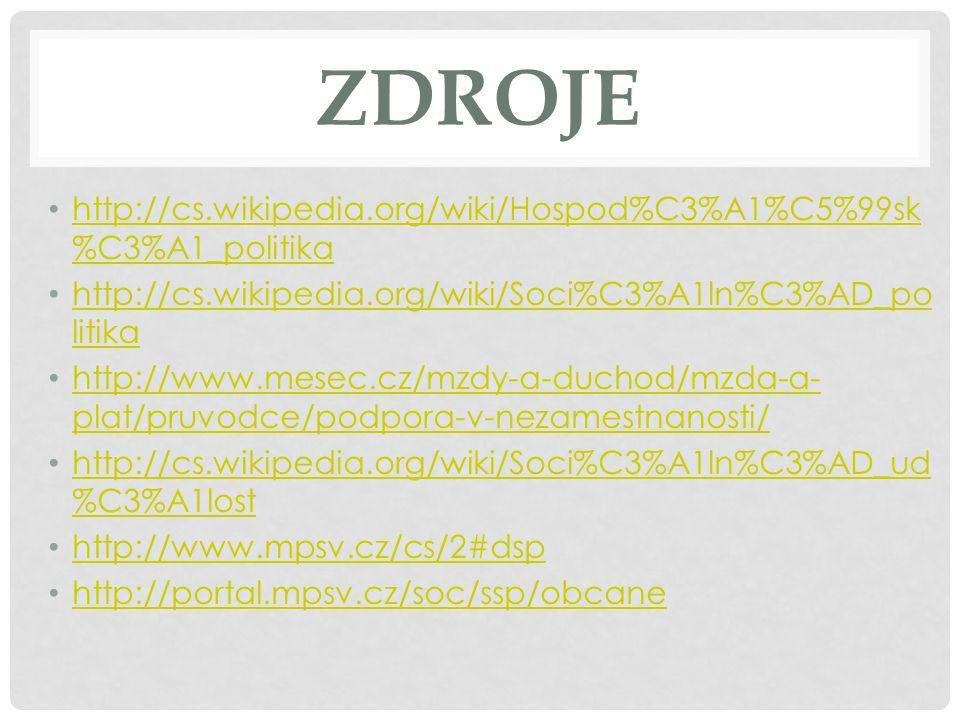 ZDROJE http://cs.wikipedia.org/wiki/Hospod%C3%A1%C5%99sk%C3%A1_politika. http://cs.wikipedia.org/wiki/Soci%C3%A1ln%C3%AD_politika.