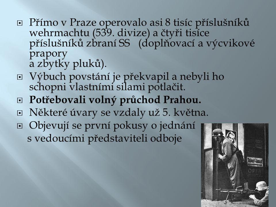 Přímo v Praze operovalo asi 8 tisíc příslušníků wehrmachtu (539