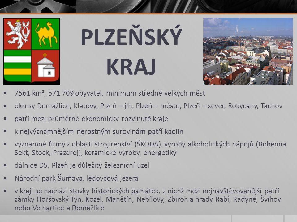 PLZEŇSKÝ KRAJ 7561 km², 571 709 obyvatel, minimum středně velkých měst