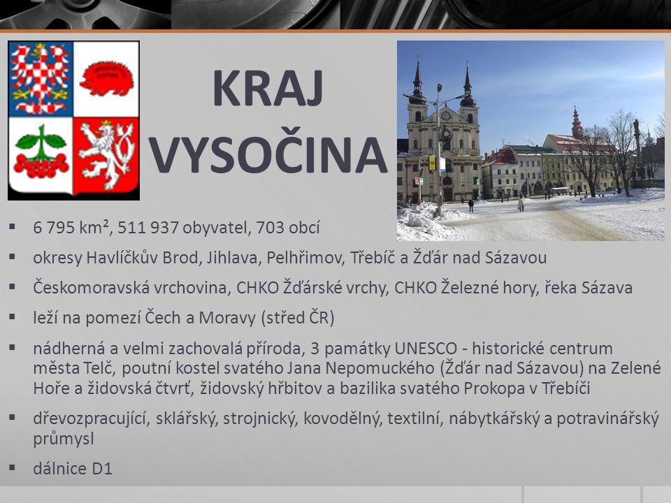 KRAJ VYSOČINA 6 795 km², 511 937 obyvatel, 703 obcí