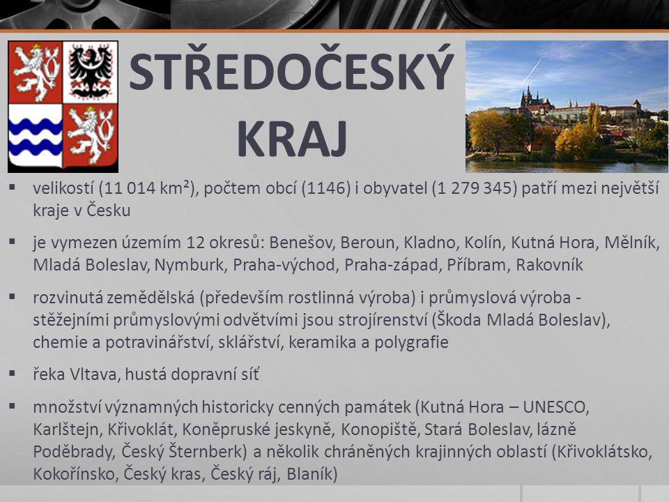 STŘEDOČESKÝ KRAJ velikostí (11 014 km²), počtem obcí (1146) i obyvatel (1 279 345) patří mezi největší kraje v Česku.