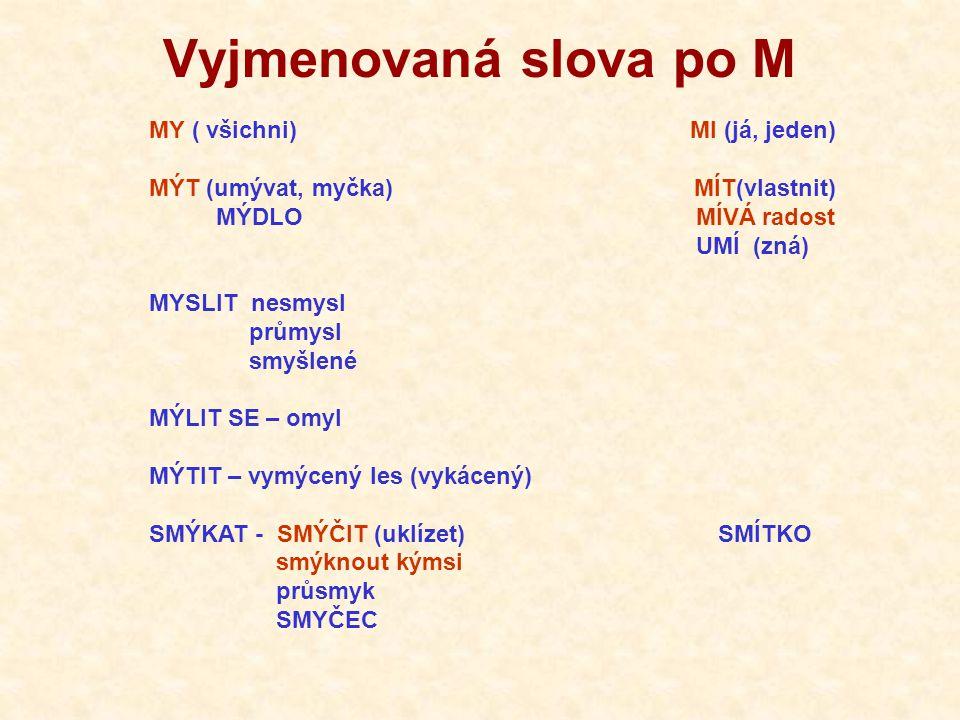 Vyjmenovaná slova po M MY ( všichni) MI (já, jeden)