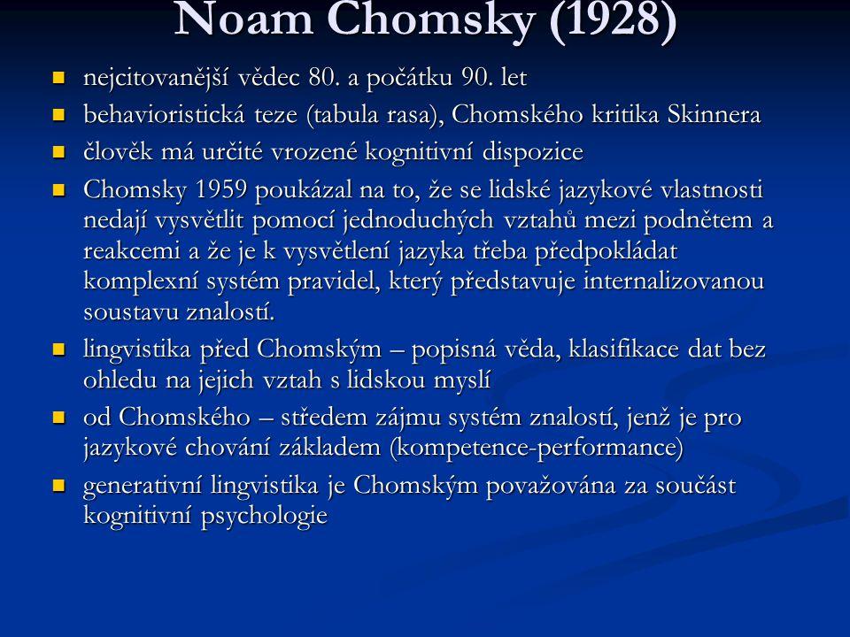 Noam Chomsky (1928) nejcitovanější vědec 80. a počátku 90. let