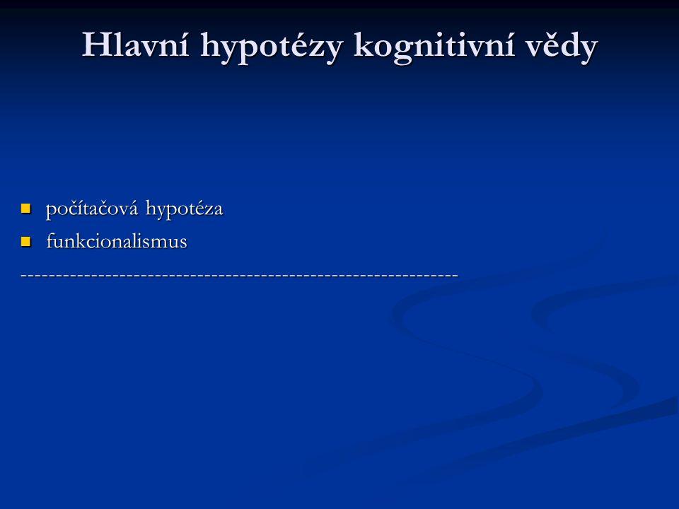Hlavní hypotézy kognitivní vědy