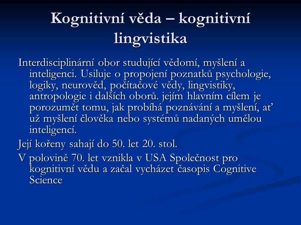 Kognitivní věda – kognitivní lingvistika
