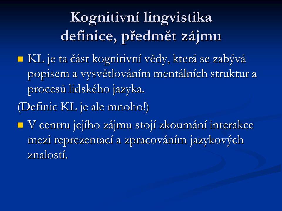 Kognitivní lingvistika definice, předmět zájmu