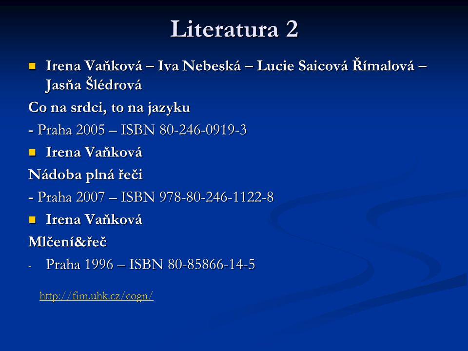 Literatura 2 Irena Vaňková – Iva Nebeská – Lucie Saicová Římalová – Jasňa Šlédrová. Co na srdci, to na jazyku.