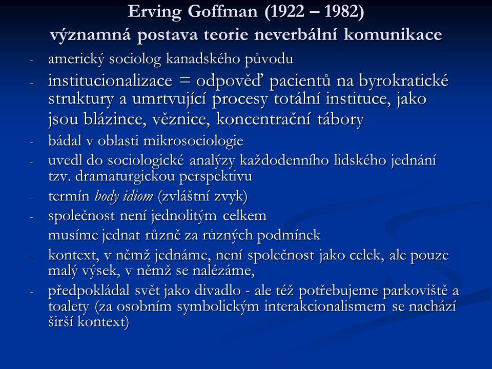 Erving Goffman (1922 – 1982) významná postava teorie neverbální komunikace