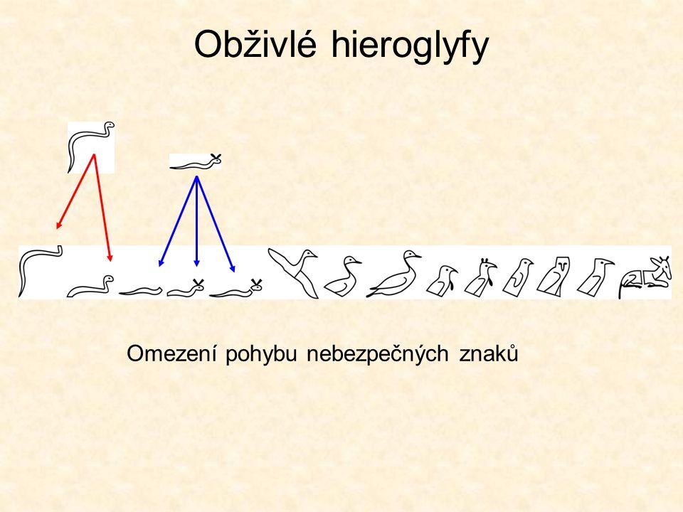 Obživlé hieroglyfy Omezení pohybu nebezpečných znaků