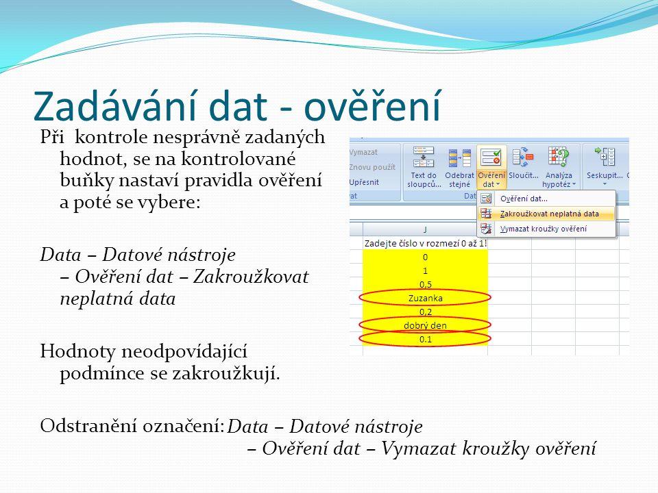 Zadávání dat - ověření