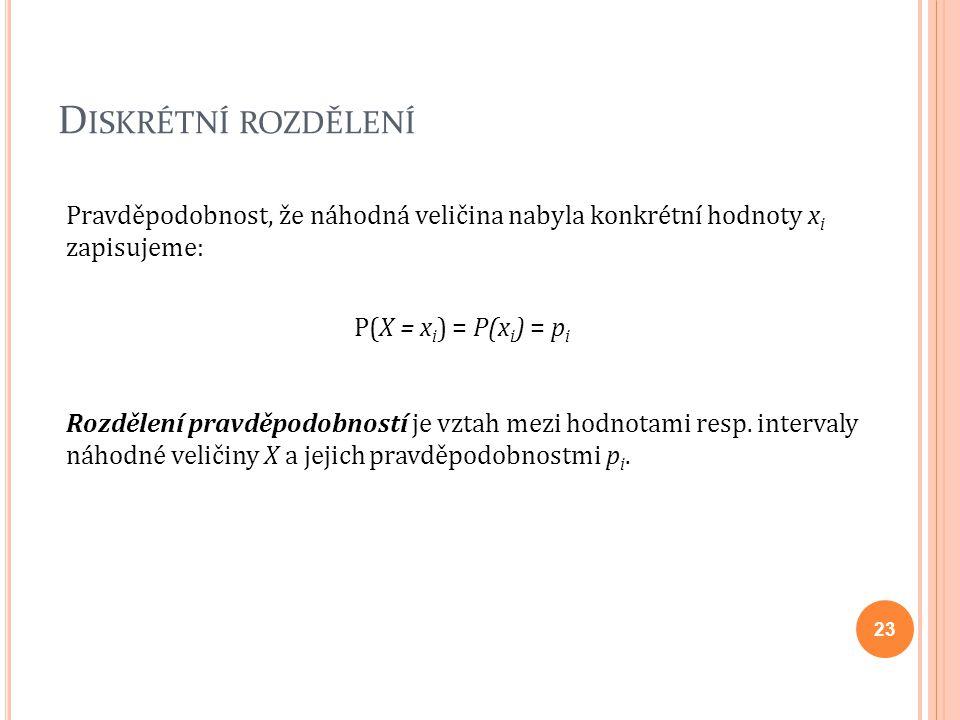 Diskrétní rozdělení Pravděpodobnost, že náhodná veličina nabyla konkrétní hodnoty xi zapisujeme: P(X = xi) = P(xi) = pi.