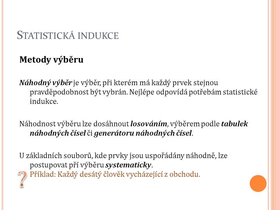 Statistická indukce Metody výběru
