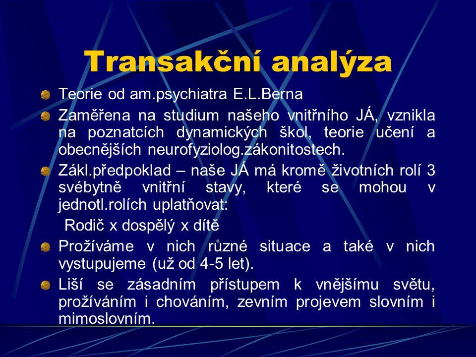 Transakční analýza Teorie od am.psychiatra E.L.Berna