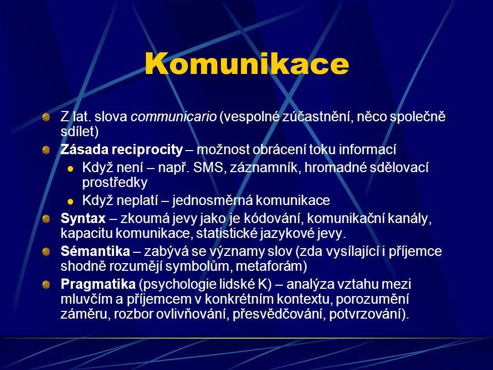 Komunikace Z lat. slova communicario (vespolné zúčastnění, něco společně sdílet) Zásada reciprocity – možnost obrácení toku informací.