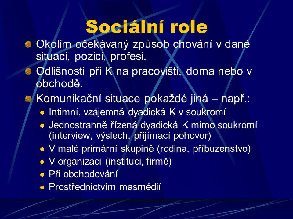 Sociální role Okolím očekávaný způsob chování v dané situaci, pozici, profesi. Odlišnosti při K na pracovišti, doma nebo v obchodě.
