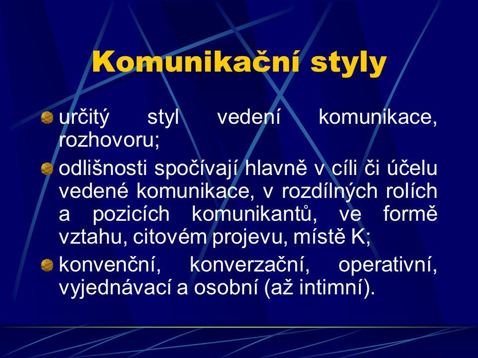Komunikační styly určitý styl vedení komunikace, rozhovoru;