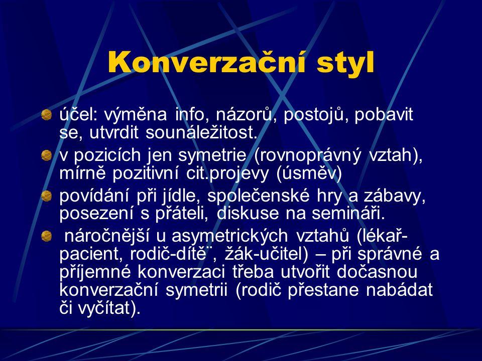 Konverzační styl účel: výměna info, názorů, postojů, pobavit se, utvrdit sounáležitost.
