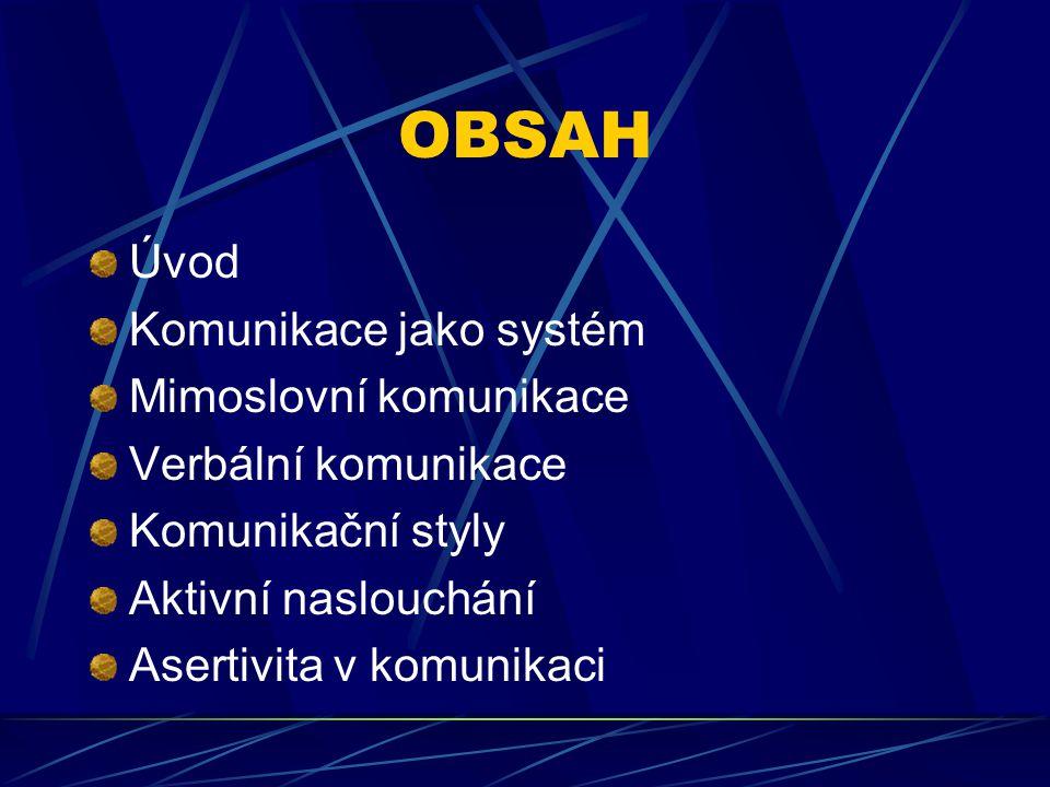 OBSAH Úvod Komunikace jako systém Mimoslovní komunikace