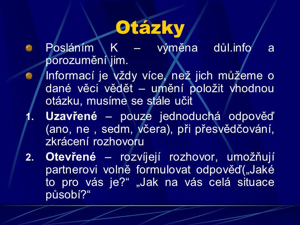 Otázky Posláním K – výměna důl.info a porozumění jim.