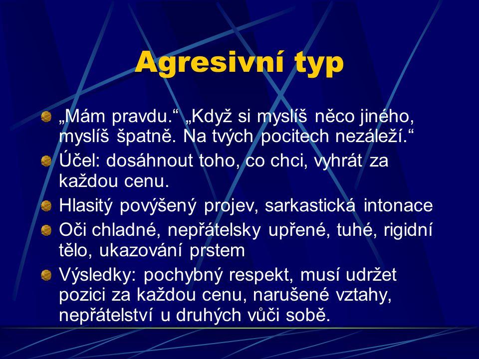 """Agresivní typ """"Mám pravdu. """"Když si myslíš něco jiného, myslíš špatně. Na tvých pocitech nezáleží."""