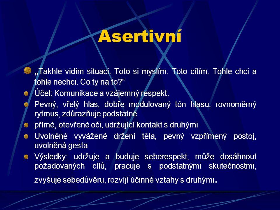 """Asertivní """"Takhle vidím situaci. Toto si myslím. Toto cítím. Tohle chci a tohle nechci. Co ty na to"""