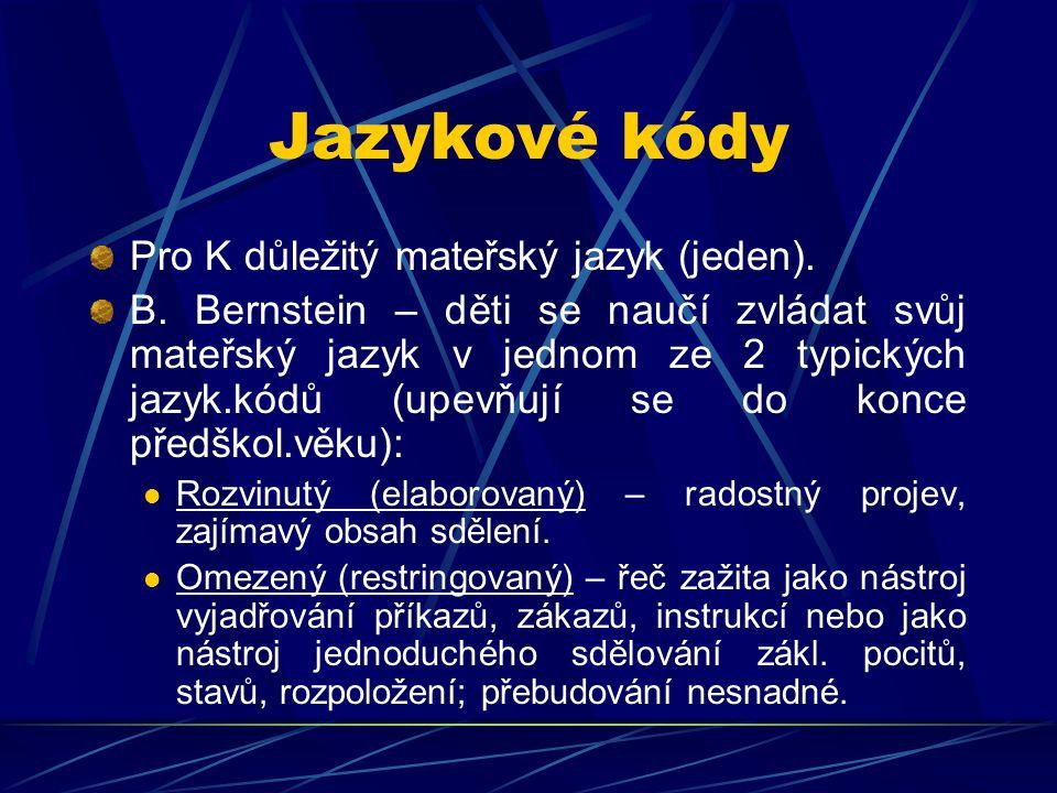 Jazykové kódy Pro K důležitý mateřský jazyk (jeden).