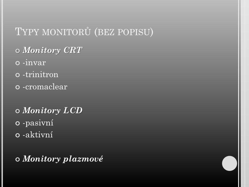 Typy monitorů (bez popisu)