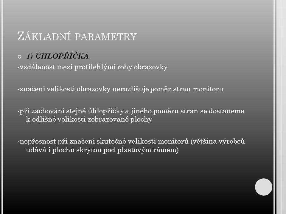 Základní parametry 1) ÚHLOPŘÍČKA