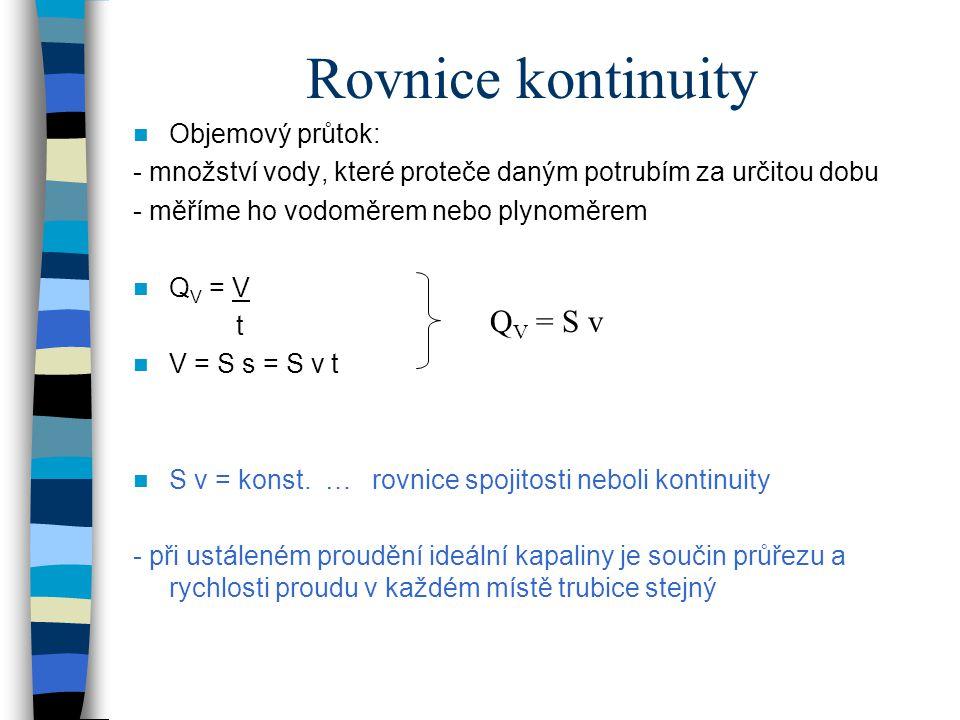 Rovnice kontinuity QV = S v Objemový průtok: