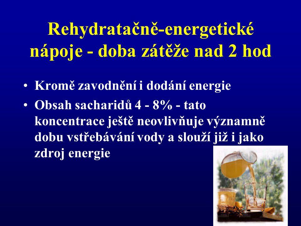 Rehydratačně-energetické nápoje - doba zátěže nad 2 hod
