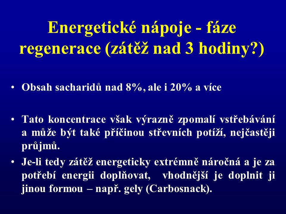 Energetické nápoje - fáze regenerace (zátěž nad 3 hodiny )