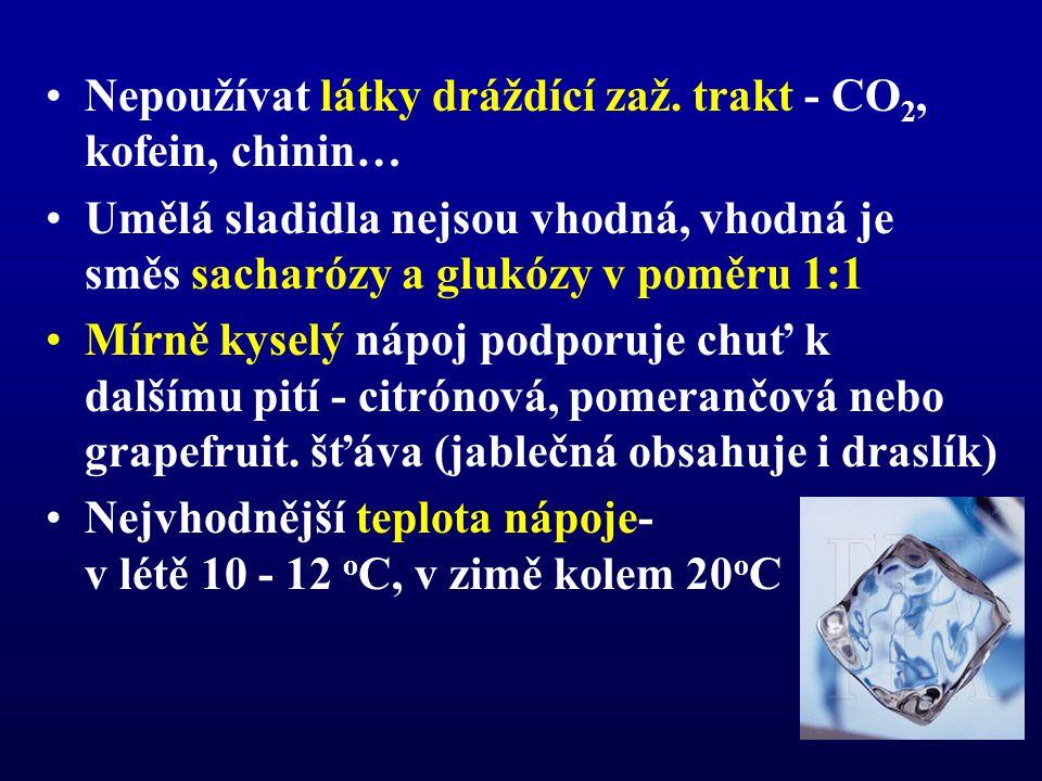 Nepoužívat látky dráždící zaž. trakt - CO2, kofein, chinin…