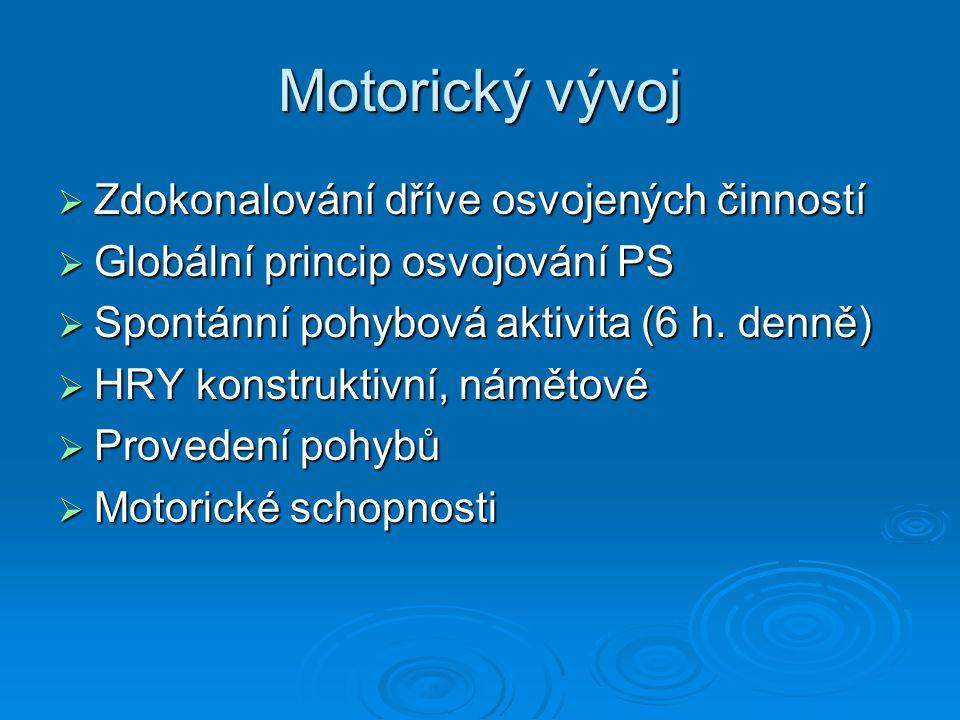 Motorický vývoj Zdokonalování dříve osvojených činností