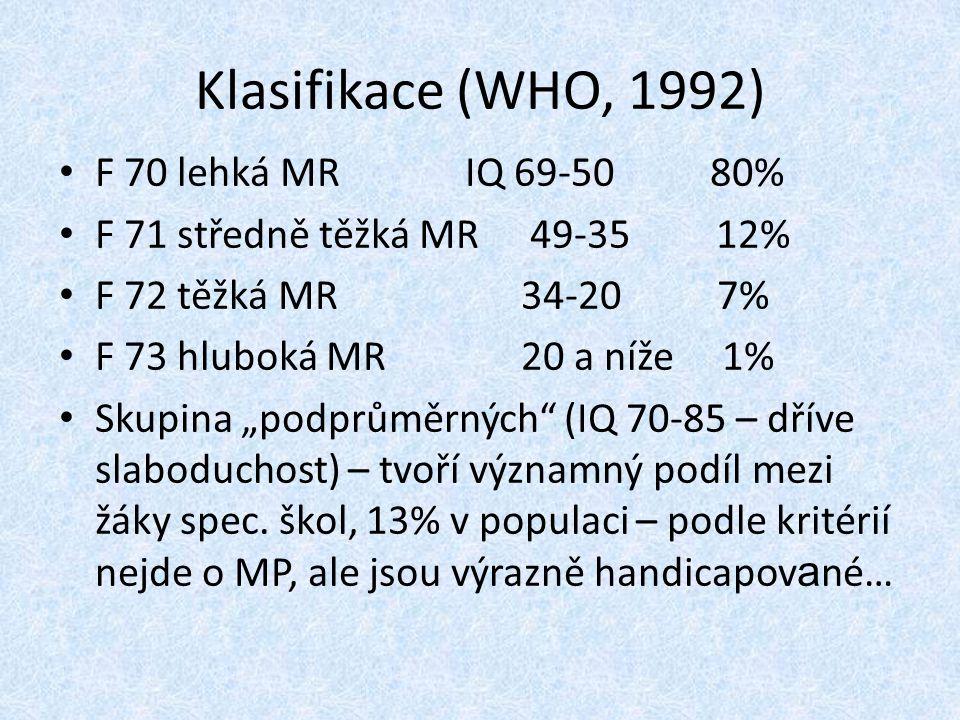 Klasifikace (WHO, 1992) F 70 lehká MR IQ 69-50 80%